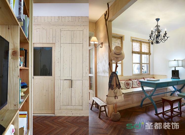 对于面积不大的户型来说,合理的装修是基础,打造精致感也是一个令人期待的作品。设计师巧妙的化解了面积的硬伤,将客厅和书房兼用,既可以用餐,也可会客,剩下空间当做走入式衣柜,空间利用。