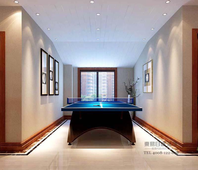 运动区,业主家人们爱好的运动项目《乒乓球》空间虽小,胜负并不重要,为了更多娱乐家人能够更多的互动 ,业主指定要求乒乓球台布置。墙面做了简单的装饰画