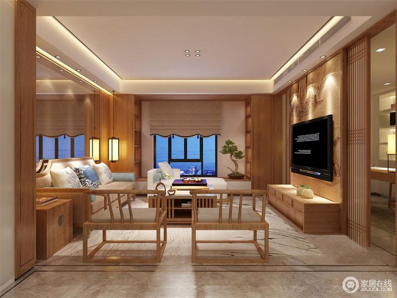 客厅以淡黄色木材自然而然地营造暖意,线条简洁的空间不再单调;设计师以中式窗帘的设计为装饰,让空间之间更和雅;实木中式家具在素朴色调的床品及藤制窗帘的点缀中,带着田园清新,十分恬淡。
