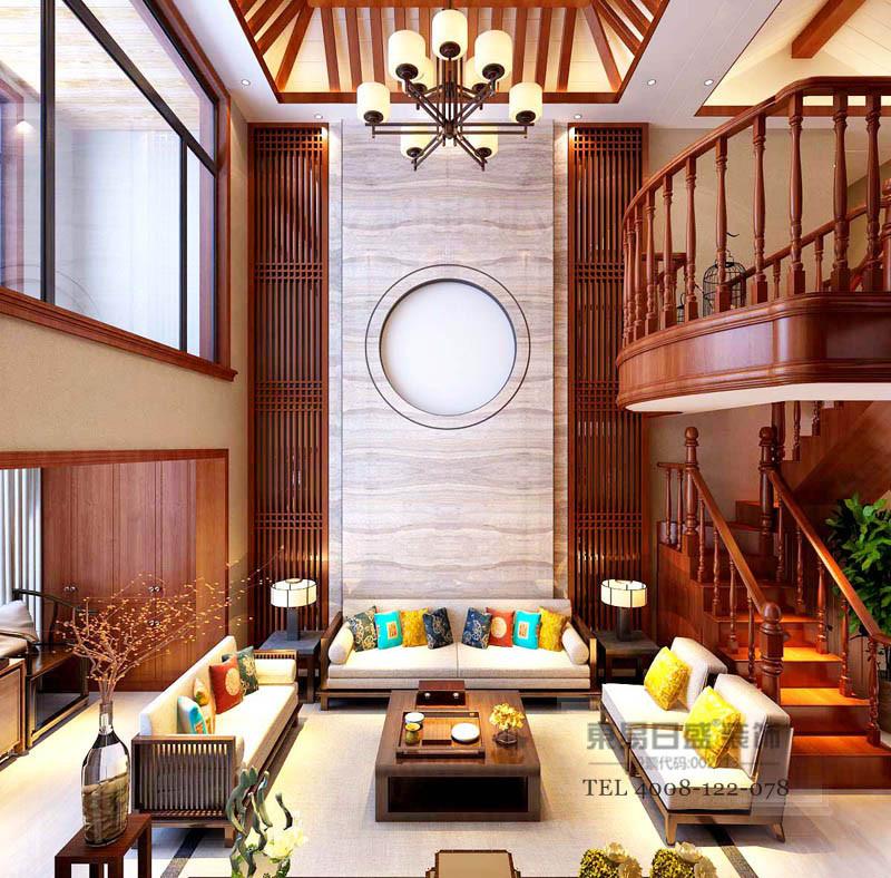 客厅挑空让房间更有空间感,墙面以不同的材质与质感显现,意境随之延伸,留白的圆形让人有种想象中的美景