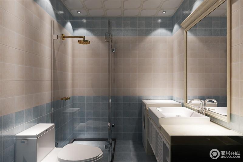 卫生间的墙面也运用了拼色方式,使墙面看上去清新雅致且丰富多层次。没有主灯,以射灯光芒演绎,各个功能区在灯光下无形划分出了各自区域。
