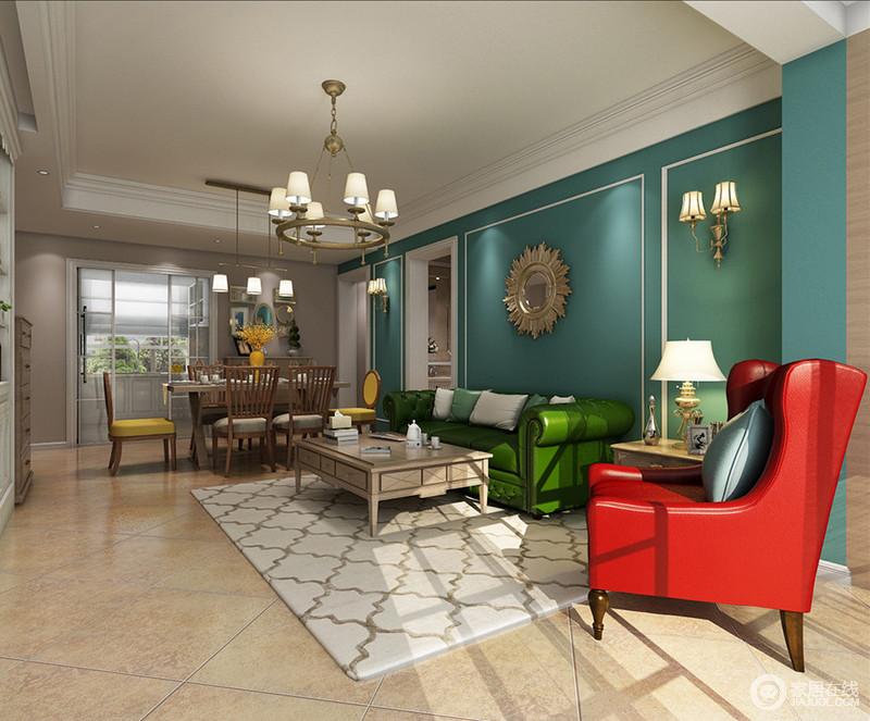 深邃的蓝色作为空间主色调,大胆的与清新的草绿色、热情的红色混搭出极具视觉冲击感的摩登空间。几何网格与朴质茶几,使感性的空间多了几分理性。