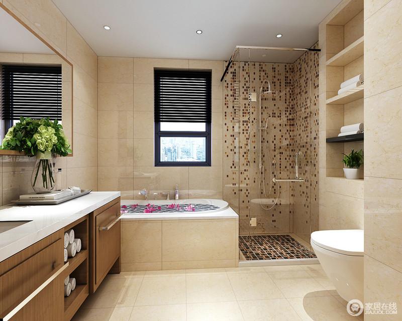 卫生间用玻璃隔离出的淋浴区,墙面和地面用不同造型的马赛克装饰,增强了空间的视觉焦点。盥洗橱柜与壁龛,打造了收纳功能;一束清新的花卉,带来活力氧气。
