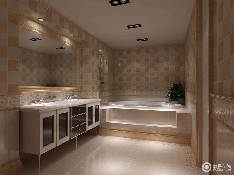 卫浴间以大量的仿古砖为主,灰黄色的砖石十分拙朴,不仅耐磨耐用,也更贴合整体设计;功能性极强的设计让干湿区愈明显,但是为了增加空间的美感,精选花卉砖石作为点缀,略添自然气息。