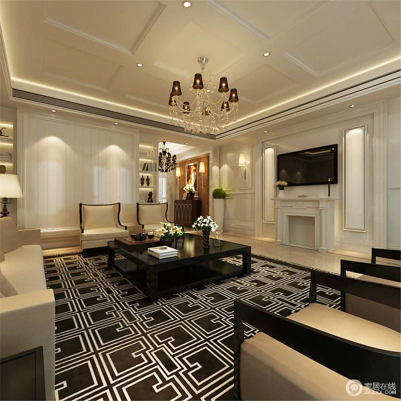 客厅并没有改变西式生活的状态,将欧式壁炉设置在空间中,加深了古典主义在空间中的张力,并将欧式艺术底蕴,以创新的方式尽显尊贵的姿容,呈现了一个简约又轻奢的空间。