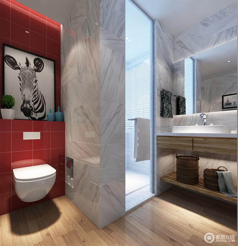 墙面上浅清的灰白大胆拼接时尚雅致的红,搭配地板的天然木色,空间在展现出摩登艺术的同时,翔动着自然灵感。局部的收纳与干湿的分离,使空间更显设计的走心。