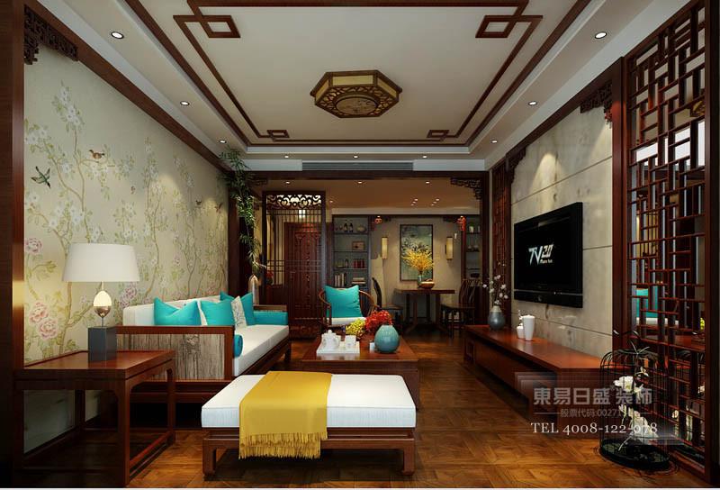 临沂滨河国际新中式客厅装修效果图全景