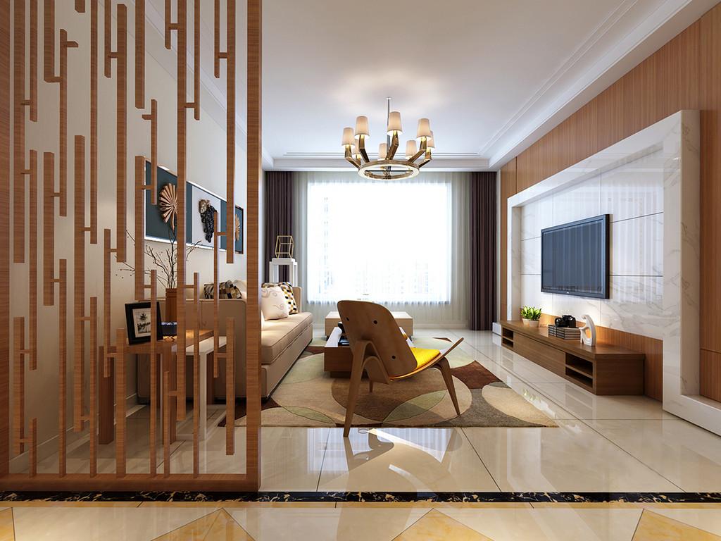 木线镂空隔断如屏风设计,制造幽雅素简的意蕴;温润自然材质呼应电视墙和搭配的几类、座椅,释放出淳朴安定的闲适氛围;低饱和度拼花地毯及浅驼布艺沙发上靠包和装饰画,利用花纹和色彩,缤纷活泼了静谧的空间。