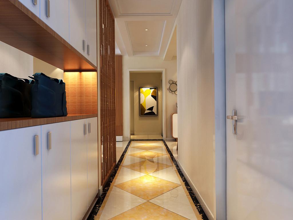 门厅狭窄但是不乏功能性,上下柜增加玄关的实用主义;白色柜体与墙面、门体色调一致,清新素雅的减弱空间的紧凑局促;地面上花金色线条装饰拼花菱纹,地毯般延展至卧室区,与多彩画上几何图案,辉映出艺术视感。