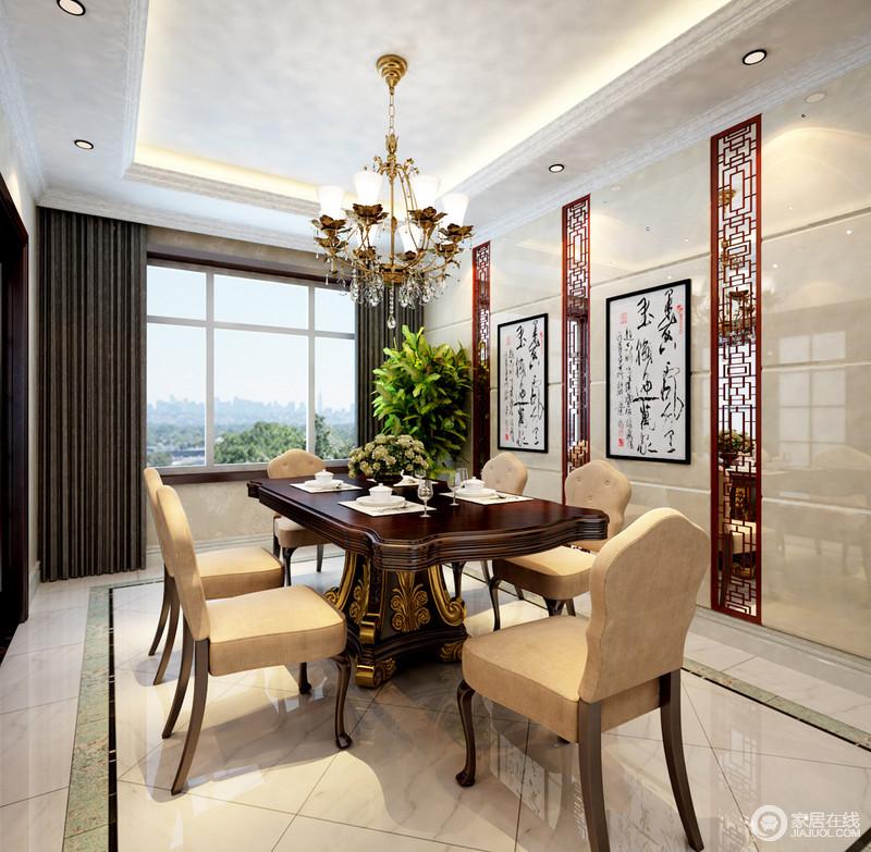 餐厅的立面利用中式镂空窗棂的设计打造了些许空灵感,与悬挂在墙上的书法作品演绎中国传统文化;新古典实木镶金餐桌椅材质和造型更显辉煌的气势,与温和地驼色餐椅烘托了一个温馨的环境。