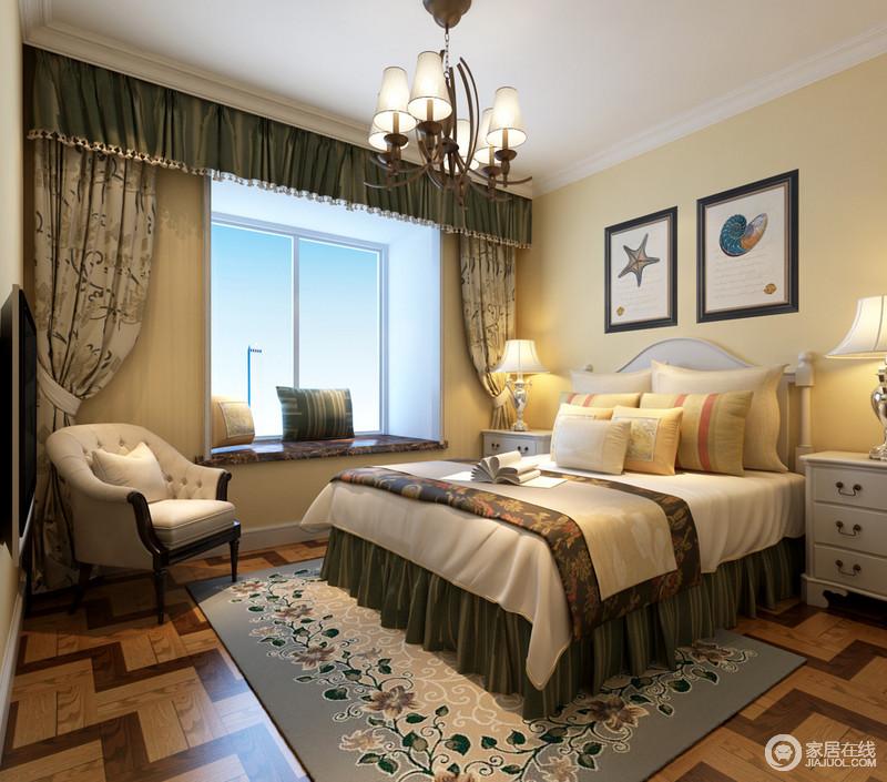 卧室设计得较为简单,主要是为孩子的成长考虑,利用米黄色粉刷墙面为其营造一个温暖的气氛;淡蓝色花卉地毯自然清新,中和出一个和谐而趣意的空间。