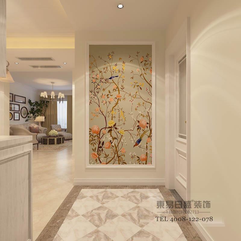 入户门厅处地面采用的普通的大理石砖来进行几何形体的切割,让入户感更有眼前一亮的感觉,同时又能制造错觉感。定制花鸟墙布让空间更有立体感,同时又呼应地面色。