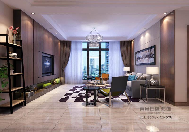 临沂凤凰水城现代风格装修方案在屋内平方数有限的空间内,为满足装修客户的生活需求,思路以营造一个明亮、收纳空间足够,并且好整理的居家环境,整片收纳柜完美隐藏在客厅电视牆不规则的线条之后,既美观又实用。