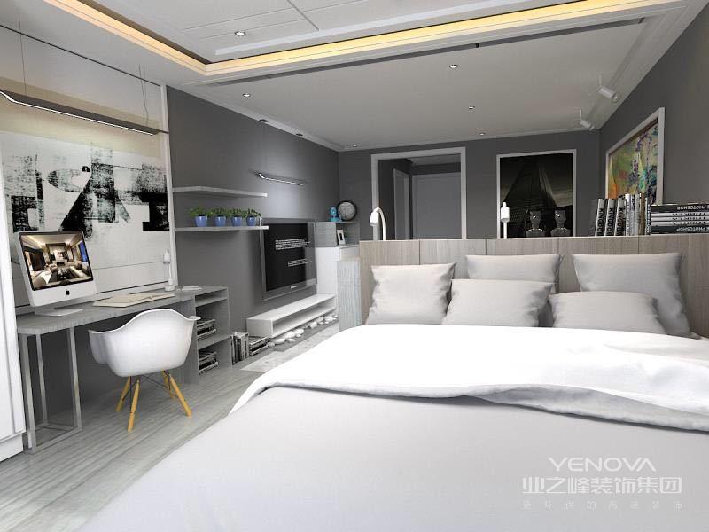 卧室大面积的使用低调内敛的灰色,点缀的挂画、几何缤纷地毯,则是简约的空间并不简单;靠窗床头布置了梳妆台。
