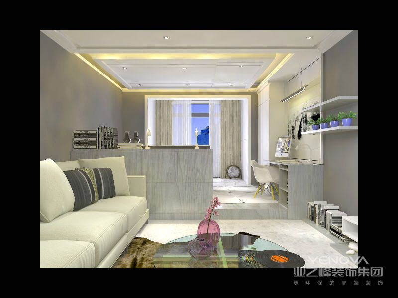 打底的浅灰色墙面与米白色的沙发,体现出柔和的色彩层次,一袭草绿窗帘,点缀出清爽的气息。