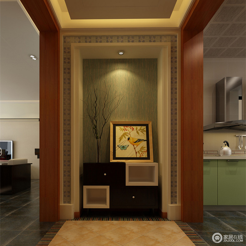 玄关连接着客厅和厨房,通过垭口划分区域空间。地板以朴质的复古黄饰以马赛克花边,与背景墙的层层叠叠相得益彰。枯枝、花鸟画与造型独特的边几柜,演绎出田野自然的情调。