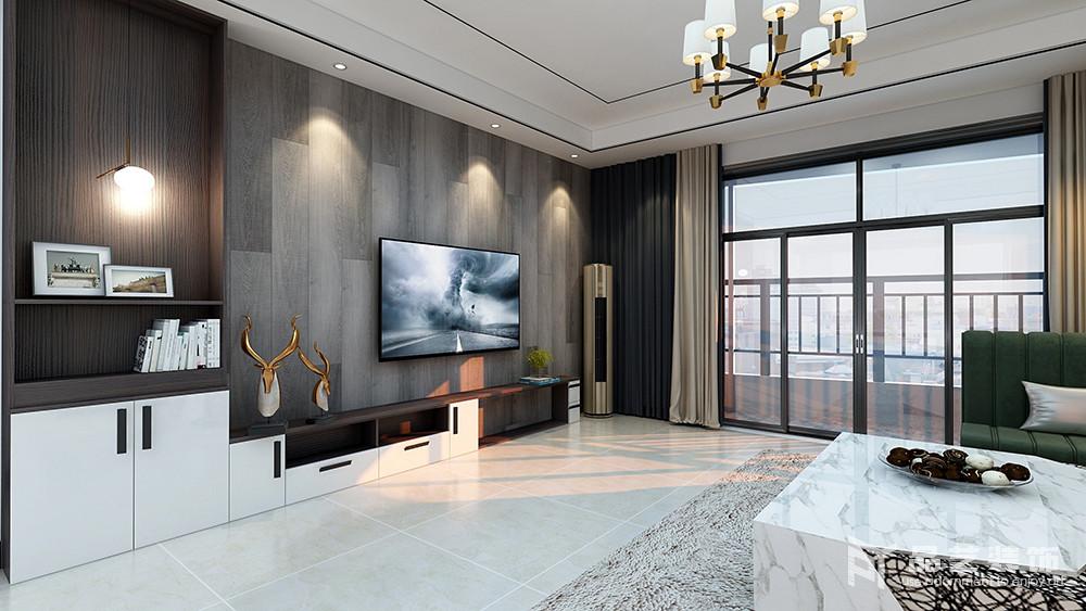 客厅的背景墙以深灰色地板铺贴的方式来演绎自然稳重,并因为材质肌理与射灯的结合,让空间多了朴质之美;黑白组合的电视柜简单大方,也带着收纳之用,与鹿头摆件装饰出空间的精致,俞显生活。