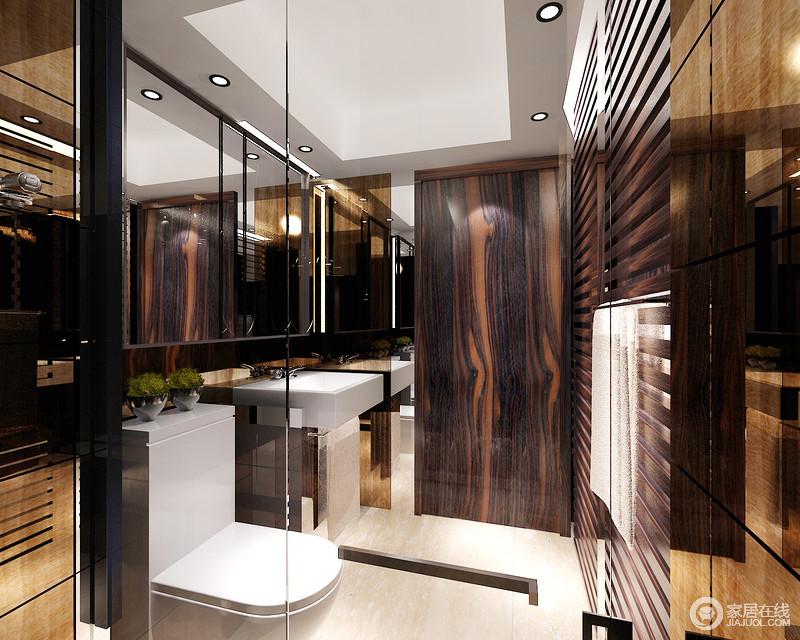 设计师利用深咖色木纹板材来构筑空间的自然古朴,也利用镜饰来提亮空间,以变幻不停的艺术形式让生活充满艺术的味道;尽管空间不大,但是整洁有序的设计,表现了主人对生活的要求。