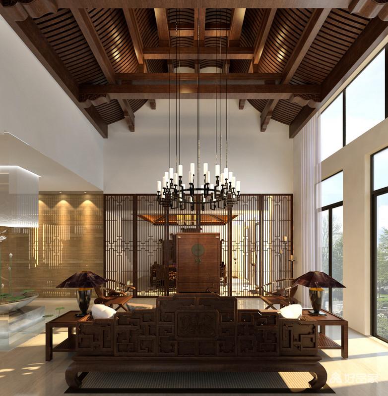 客厅通过镂空的窗棂实木墙与餐厅区分,简单之间流动的中式清韵让人魂牵梦绕,好似穿越回传统的时光里,体味那木质的温实;中式实木边柜中正地与沙发对应着,以中式艺术交织互动出大气。