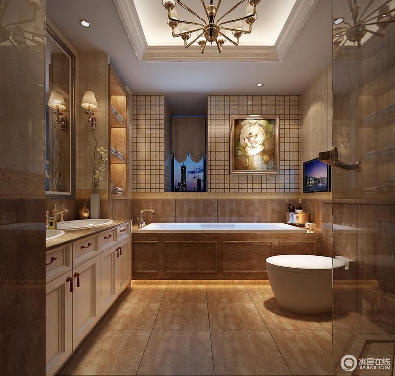 卫生间里方砖的大小拼接使用,使墙面拥有了层次性,加上挂画装饰和壁龛的收纳展示,营造出丰富多样。洁具的白色与空间主体的棕黄搭配,也强调了细节的功能性。