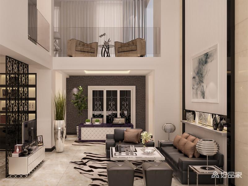 挑高的客厅利用二层的层高制造视觉上的层次感,黑白搭配的色调间,沙发墙和电视墙以不对称的形式,饰以线条和雕花屏风装饰,皮质的沙发质感精良,空间展现出内敛而沉稳的精致感。