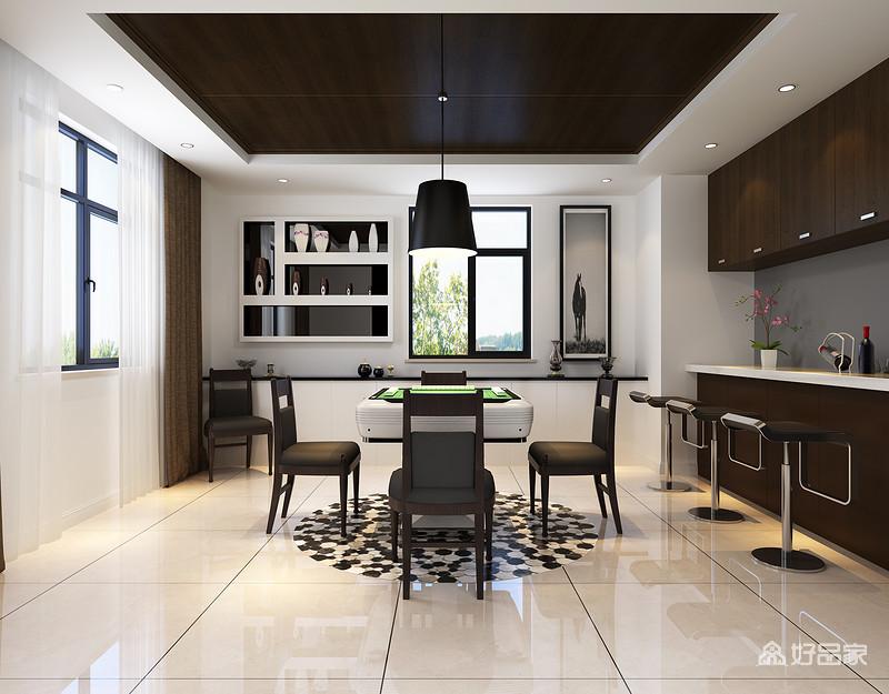 规整的空间以白色为主,从地面到墙面形成的白净与实木吊灯和橱柜以对比显出层次,简约与实用并举;白色收纳柜上精致的摆设、悬挂柜和摄影画的现代艺术与黑色系家具加深了现代纯粹。