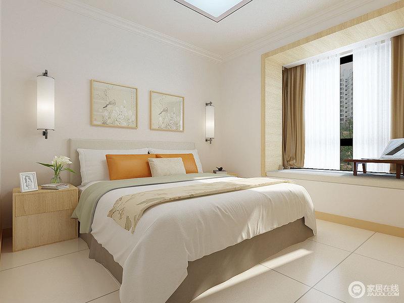 米色的地砖渲染了苍白的空间,木调为辅的设计让你愈加安心舒适地生活在这里;圆形壁灯与挂画丰富了空间的层次,与橙黄色靠垫和素雅的床品塑造了一个现代简约、清淡温和的空间。