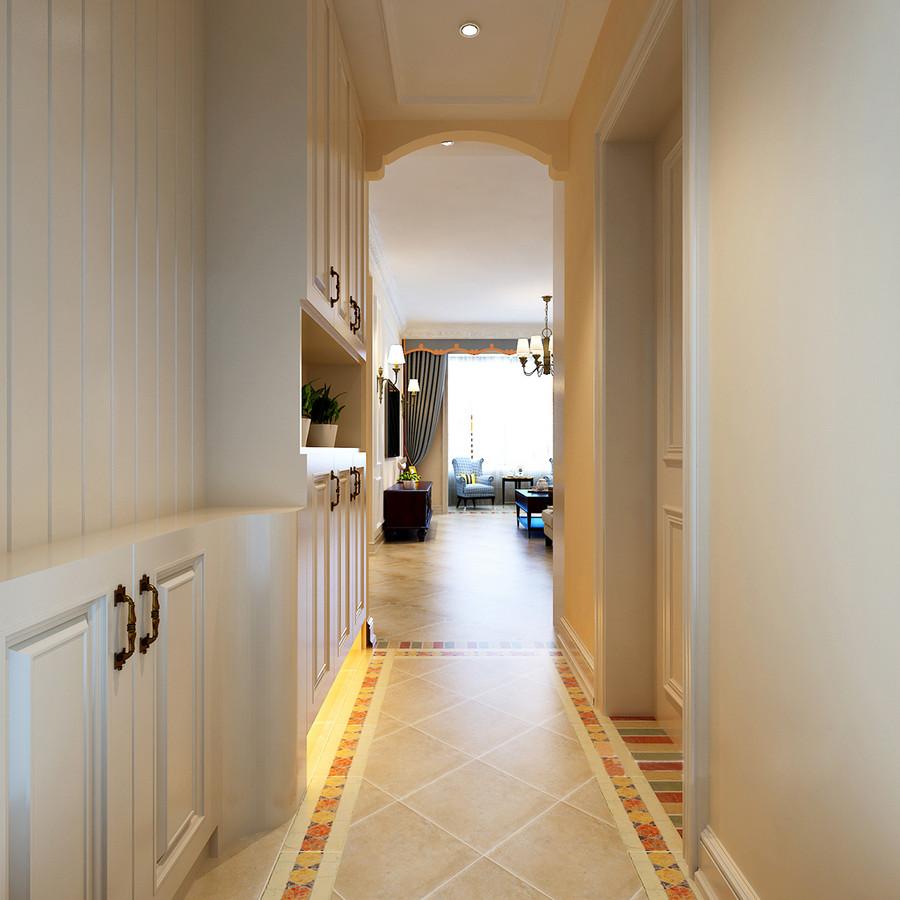 走廊因为仿古砖多了田园古朴,反衬出拱形造型带来的乡村气息;原本米色的墙面和宁静致,因为彩色拼砖多了活力,设计师定制的收纳柜满足主人的收纳需求,可谓让小走廊更智慧。