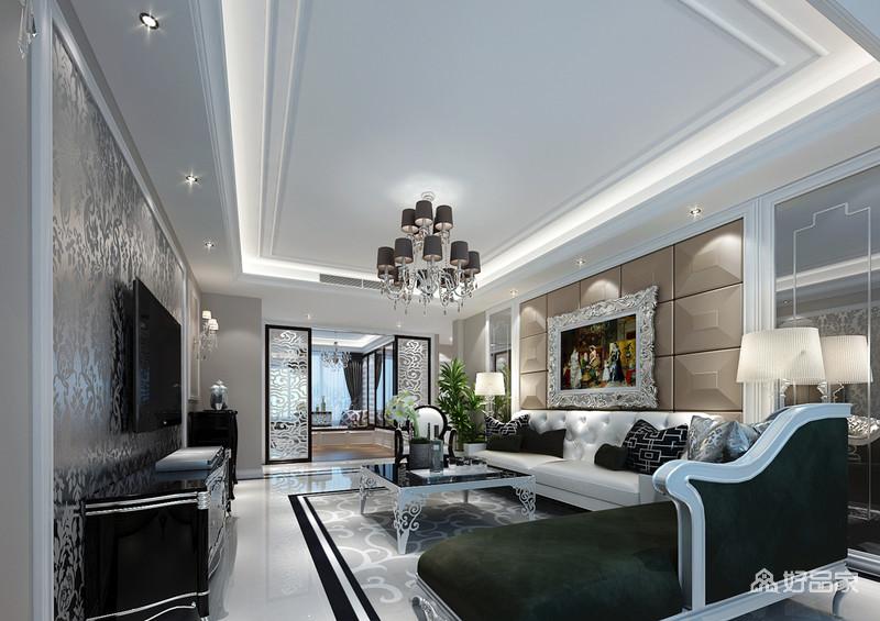 客厅在墙面、门饰、茶几及画框上运用了丰富优美印花和缱绻雕花装饰,打破黑白灰色调的清冷质感,带来浪漫优雅的空间情调;沙发墙装饰了凸起的软包,与沙发造型凹凸呼应,两侧的镜面扩展视感。