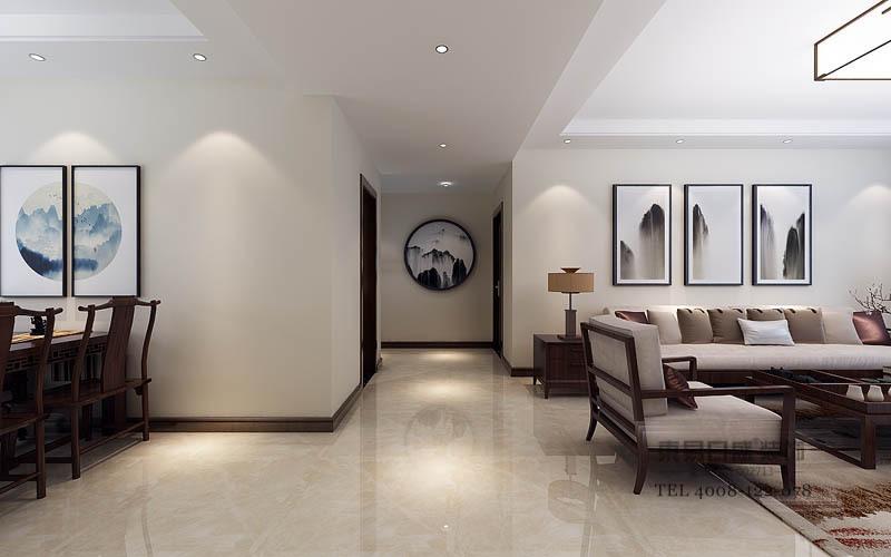 卧室以原木地板铺贴地面,与浅绿色花鸟壁纸营造自然和煦、轻快;墨云地毯与白色床品因为紫色毛毯更显贵气,黑色X字造型的床头柜因为青玉台灯更为柔和,蓝色折扇装饰的背景墙充满了清雅,与陶器及白色筒灯充满了中式唯美。