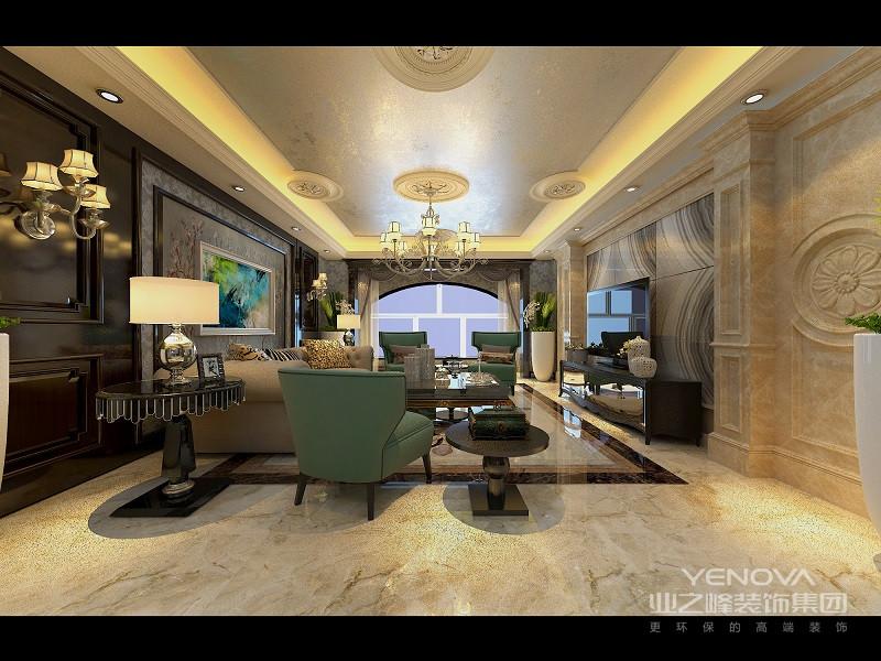 客厅采用白色的背景墙,墙面上挂着画像,简约风格的画像带有文艺气息;顶部装有欧式流行的水晶玻璃灯,璀璨晶莹的闪耀;