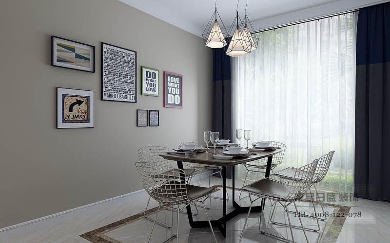台面采用比地面略浅一度的灰色,与地面协调出层次和造型感,更显时代感;吊灯照片墙+上色彩布艺的窗帘解读着生活的艺术感。