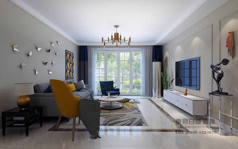 客厅以云多拉灰为主的大理石地面配以爵士白做造型线条,为空间营造无尽的延伸感;
