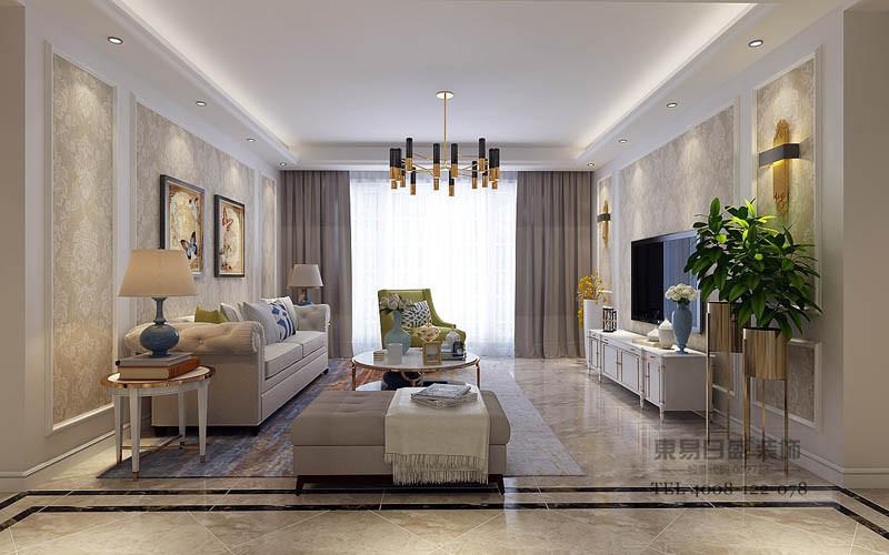 客厅拥有宽敞的玻璃窗,以晶粉搭配白纱帘,减弱了日光的映照;墙面以灰驼色打底,温馨舒缓的色调在灯光的渲染下,散发出温柔平和的气息,艺术画作简约点缀,空间氛围被营造的轻松愉悦。
