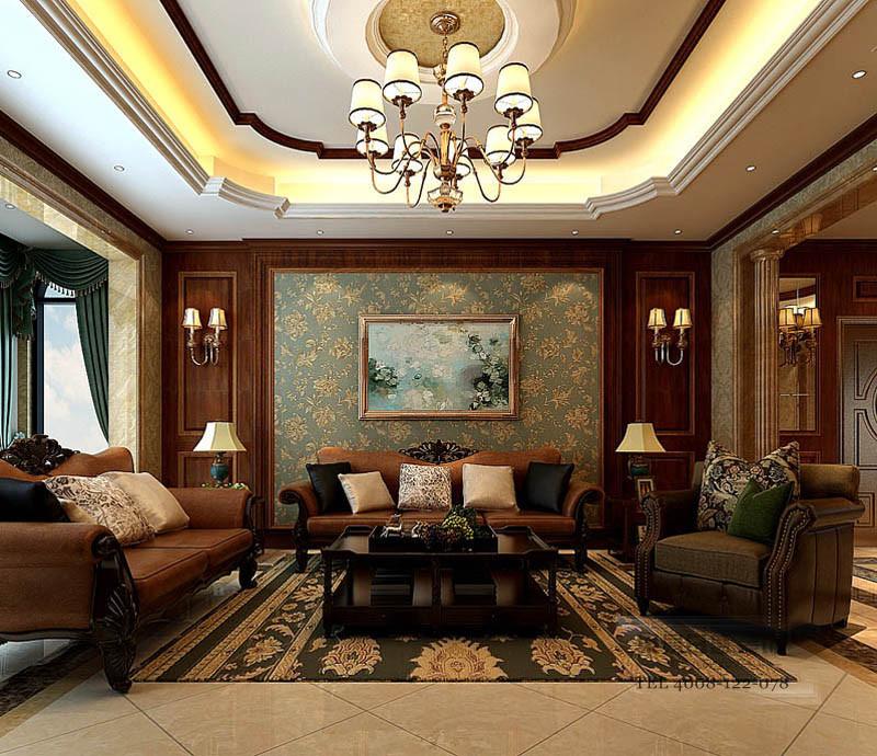 临沂青啤别墅美式装修效果图_客厅影视墙