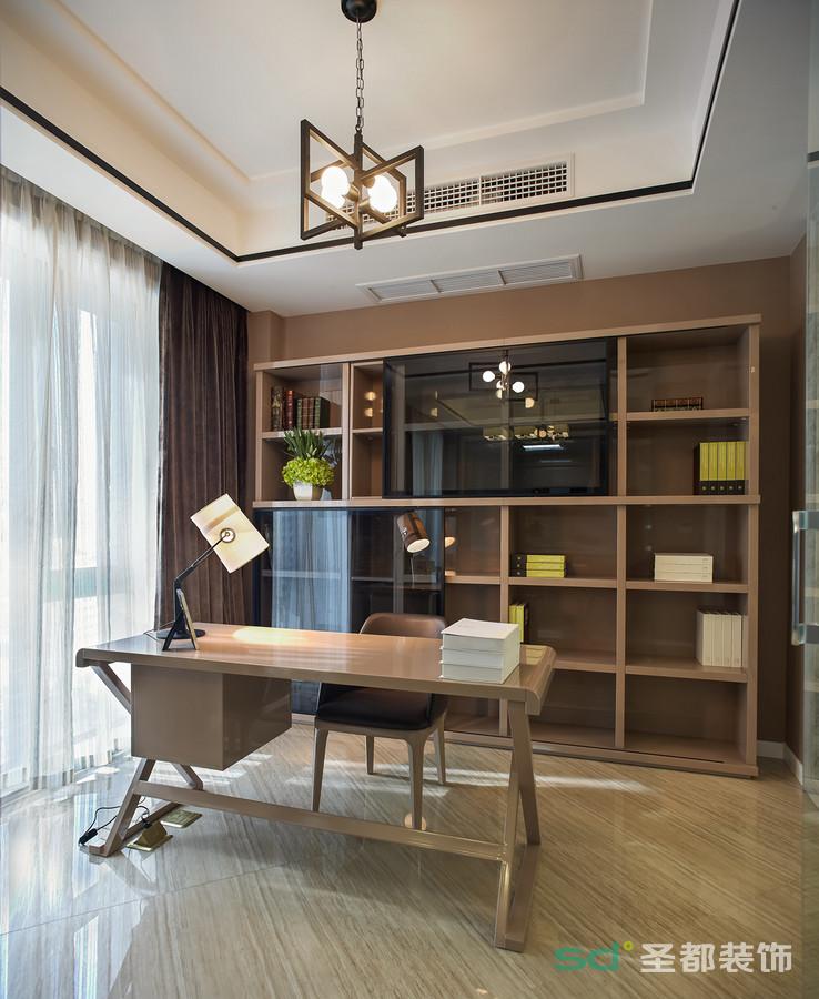 书房主要营造了舒适的氛围,窗明几净的舒适氛围,一扫俗虑回归内心沉淀。