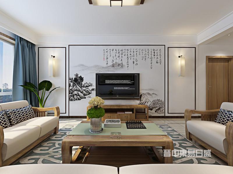 客厅空间以白色、木色为基调烘托出内敛沉静的氛围,搭配一副定制的水墨画电视背景墙,将东方涵蕴不动声色地延展开去。