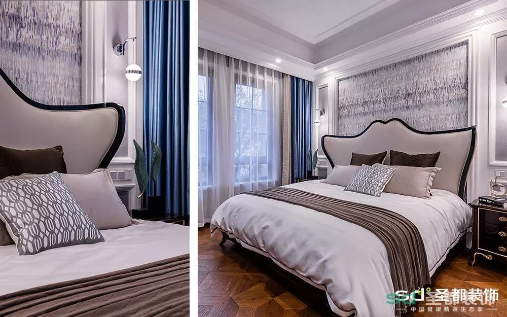 父母有时候会来同住,对他们的卧室也进行了精心设计,特别用乳白色乳胶漆和灰色棕色间隔的墙布打造背景墙,用头层真皮+全榉木定制床靠背。