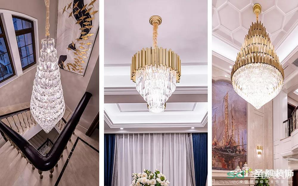 不过要说一楼最满意的装饰,就是我家大玻璃吊灯,蛋糕式大吊灯奢华了整个房子,谁说装大吊灯就会很土?这种同系不同款的搭配,既呼应统一又别样精致,吊灯也可以富丽堂皇地如此优雅!