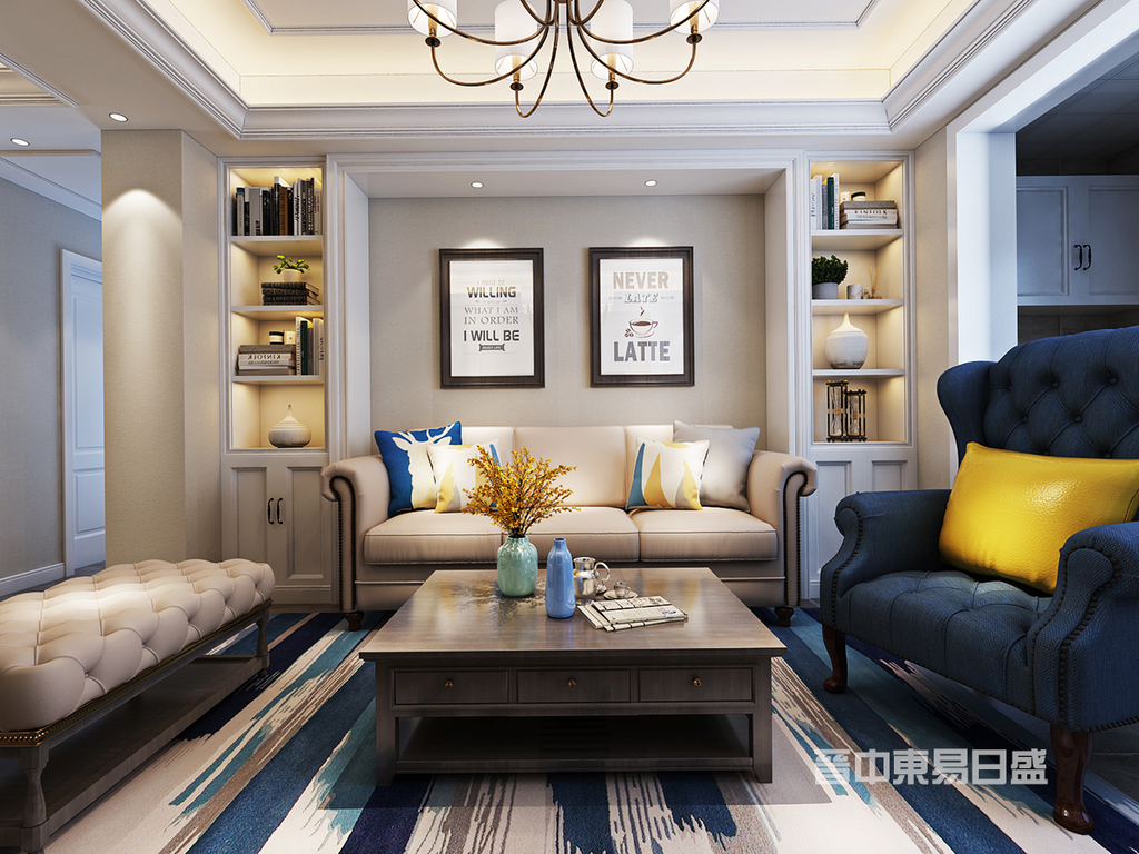 客厅:客厅吊灯采用线条组合,增加美式的感觉,沙发背景墙两侧定制开放式收纳柜,在开放式收纳柜里摆放美式饰品,营造出一种怀旧、浪漫的感觉。在沙发区铺上大幅花纹地毯,使空间区域划分更加清晰。皮质布艺组合造型的沙发,以及茶几都具有上乘的质感,让美式古典风格得以进一步的彰显。装饰画对于提升空间气韵有莫大的帮助,美式风格的展现自然不能缺少装饰画,对于软装设计的体现无疑让人心旷神怡。