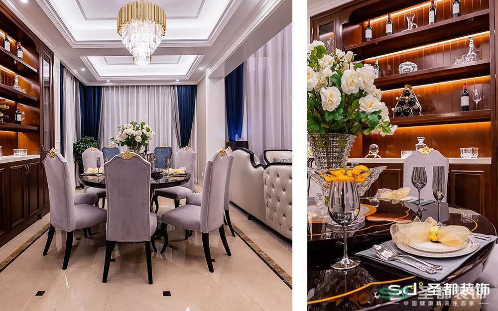 然后来看下本大圣家的餐厅,榉木的旋转餐桌和天鹅绒的金冠餐椅,就餐的环境与美食的口味一样重要。让设计师在酒架的每一层加了灯带,然后在圣都汉森馆里采购了酒杯、醒酒器,假装自己穿越到了古代欧洲的大户人家,意境perfect!