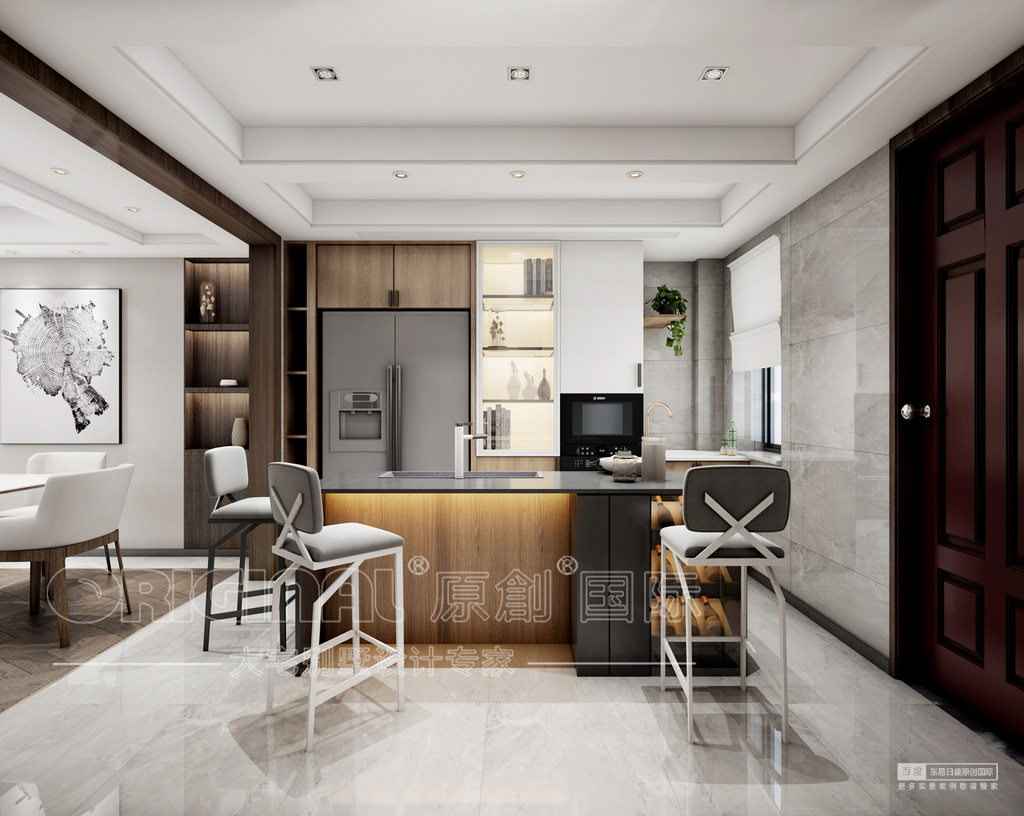 設計手法:整體風格為減法的設計手法,通過墻體的大膽拆除,將客餐廳及廚房的空間連成一個整體,將這些空間巧妙地聯系在了一起,沒有過多的裝飾,力求極簡,帶出材質最原始的面貌,以白色基調為設計主體,凸顯材質最自然的美感,并且圍朔出純凈自然的空間氛圍,另外將原木色護墻點綴式加入空間之中,增加空間的立體層次,以及更加的貼近自然。 其開放式的公共場域賦予空間流暢的動線,公共場域的設計除了延伸視覺還為業主打造一個時尚而又合理科學的生活方式,在不受限的空間里以白色基調配以原木色來放大空間的寬敞透氣及明亮感,此案簡潔俐落的設