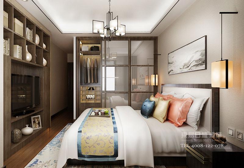 临沂凤凰水城新中式风格卧室装修效果图2