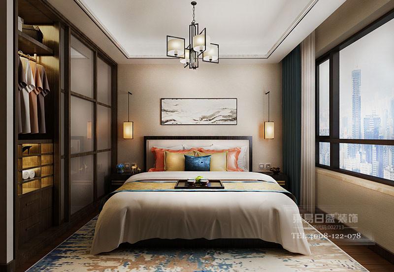临沂凤凰水城新中式风格卧室装修效果图