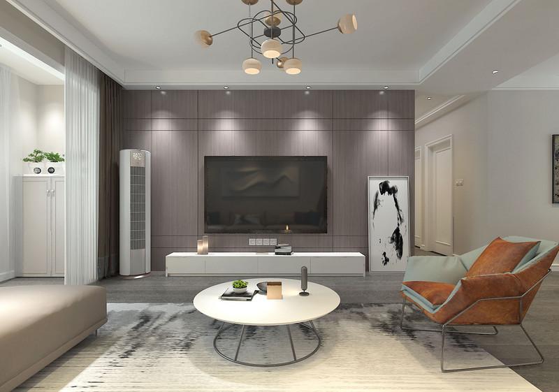 紫灰色的电视墙在灯光和线条的构建下,散发着朴质又内敛的气质;家电和电视柜及摆画的舒朗组合,让电视墙不乏亮眼的营造。