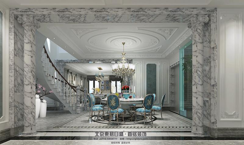 藍色的椅子,淺色的大理石樓梯,這樣的選材清新自然享樂的藝術生活。
