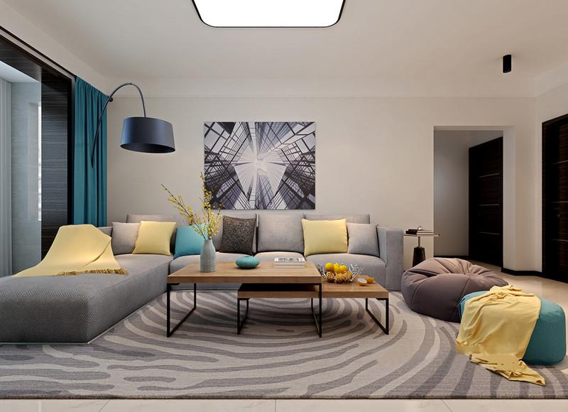 线条的跃动和几何建筑结构的视感,运用在地毯和装饰画上,让简洁的空间充满了层次和时尚;灰色调的组合沙发上,黄蓝咖靠包的点缀呼应着懒人沙发凳,搭配着折叠实木铁艺茶几,空间有着十足的活泼张力。
