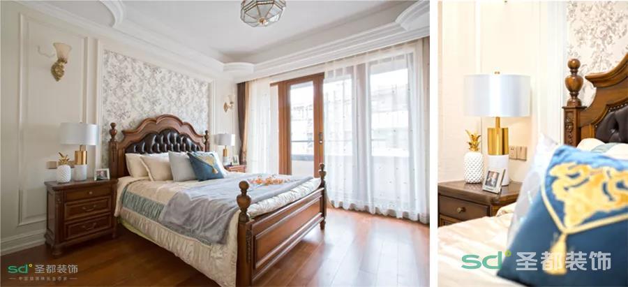 细节之处显品质,精致的做工才不会外强中干。床头靠背的精致雕花、实木床头柜的面板文理,都是凹过造型的,并且边角弧度处理,避免不必要的磕碰。
