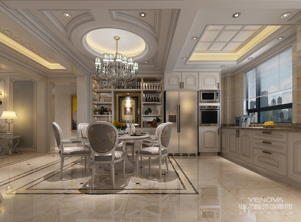 餐厅在做空间划分上,选择了透明的玻璃,使空间看上去通透明朗。窗台做了弧形的设计,加入的条木彰显出自然情调。圆顶与圆桌、餐椅圆形靠背,强调了家的团圆寓意。