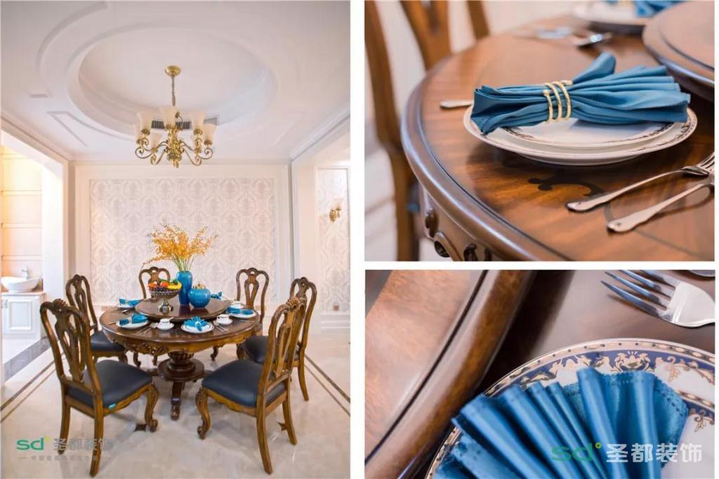 说到软装,沙发和餐厅的椅子都是由头层牛皮和橡木实木框架打造,茶几和桌子也是全实木,你要的品质感这里都有。家具颜色的统一只为大道至简的大气,精致的雕花更增空间层次。
